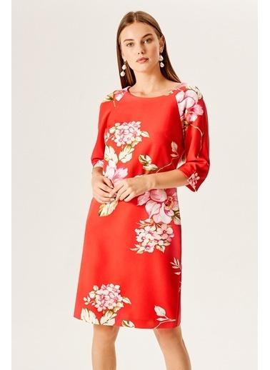 NaraMaxx Desenli Truvakar Kol Elbise Kırmızı